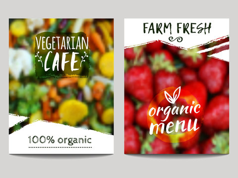 Vector brochure design template with blur background with vegetables, fruits and eco labels. Healthy fresh food, vegetarian, eco concept. Can be used for presentation, web, flyer, magazine, cover