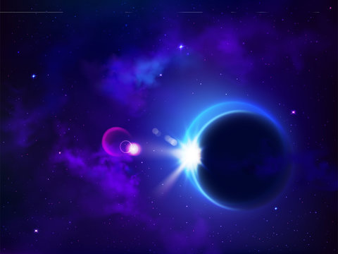 Total eclipse solar or lunar. Moon cover sun mysterious natural phenomenon in outer space, planetary standoff, sky galaxy, glowing stars, astronomy, cosmic background. Realistic 3d vector illustration