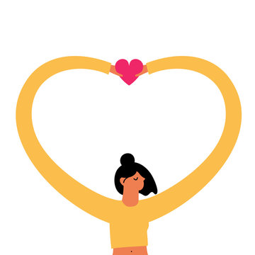 Vector illustration with young woman holding pink heart. Love who you are and love yourself concept art.