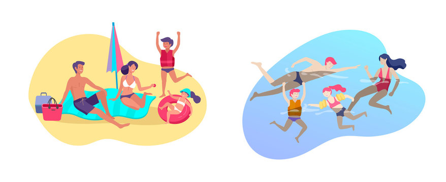 Collection of family summer hobby activities. Mother, father and children sunbathing, swimming, traveling together. Cartoon vector illustration