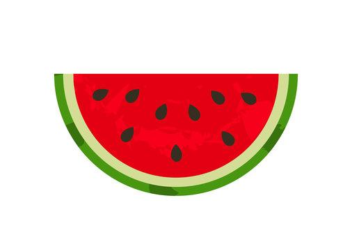Watermelon juicy slice summer fruit icon.