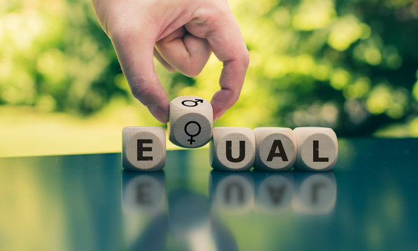 """Symbol for equal rights. Cubes form the word """"EQUAL"""" while gender symbols are forming the """"Q""""."""