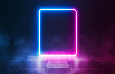 Background of an empty disco scene. Neon square figure in the center of the scene. Neon light smoke. Dark abstract futuristic background Wall mural