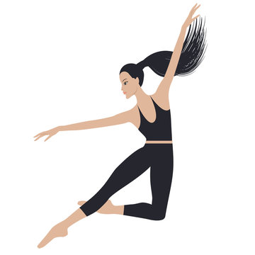 Jumping dancer - long hair gathered in a ponytail - in sports leggings and a topic - isolated on white background - vector
