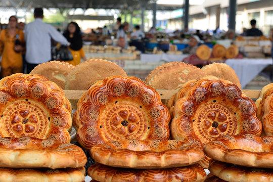 Uzbek traditional meal bread, Margilan, Fergana Valley, Uzbekistan