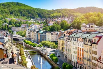 aerial view to karlovy vary city czech republic - fototapety na wymiar