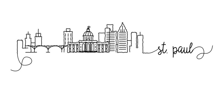 St. Paul City Skyline Doodle Sign