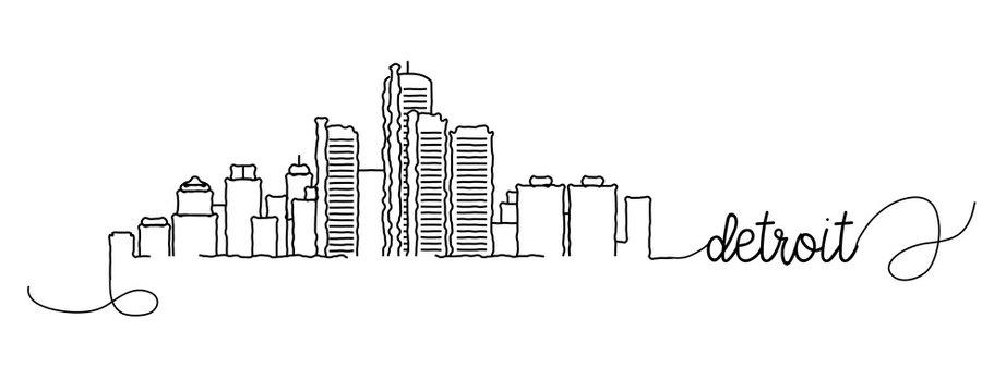 Detroit City Skyline Doodle Sign