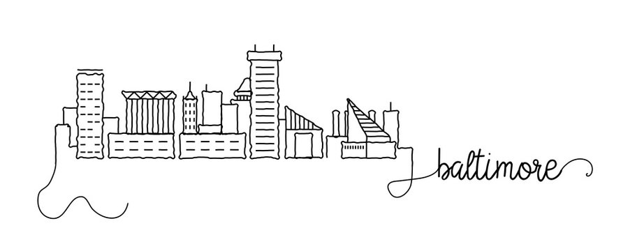 Baltimore City Skyline Doodle Sign
