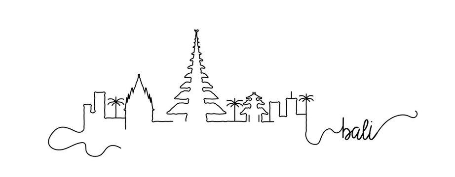 Bali City Skyline Doodle Sign