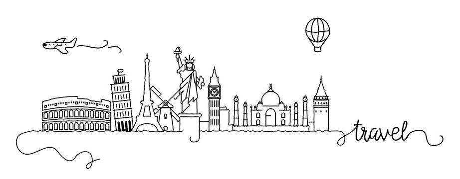 World Famous Cities Skyline Doodle Sign