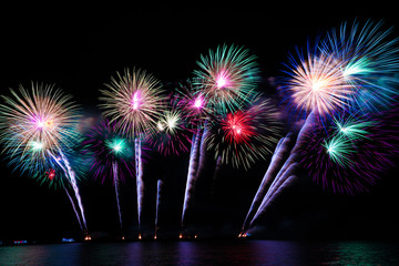 colorful fireworks over the sea.