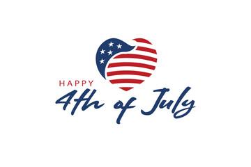 USA heart 4th of July. Logo Celebration