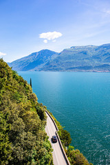 Fototapete - Riva del Garda as seen from Pregasina, a little village on the mountain. Riva del Garda, Garda Lake, Trentino Alto Adige, Italy.