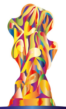 cup, abstract sculpture, sparkling with color shimmer