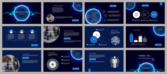 Blue presentation template. Neon circle and wave elements for slide presentations on a dark background. Flyer, brochure, corporate report, marketing, advertising, annual report, banner