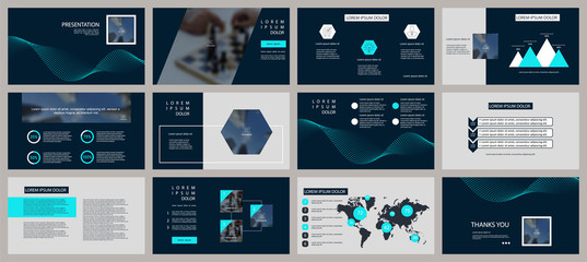 Presentation template. Elements for slide presentations on dark background. Flyer, brochure, corporate report, marketing, advertising, annual report, banner
