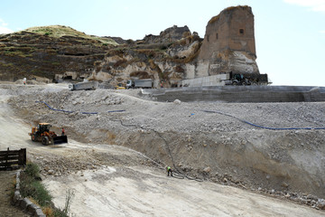 A general view of the ancient town of Hasankeyf by the Tigris river, which will be significantly submerged by the Ilisu dam being constructed, in southeastern Turkey