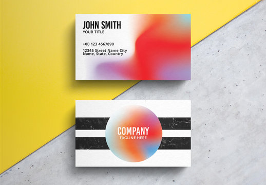 Modern Colorful Business Card Layout with Black Stripes