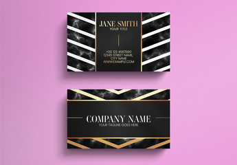 Black Marble Business Card Layout with Gold Lines