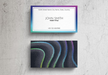 Business Card Layout with Wavy Lines