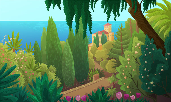Vector illustration of a coastal landscape in the south of France. Summer scenery of a green garden of pines and palm trees with the sea in the background.