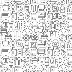 Travel related seamless pattern with thin line icons