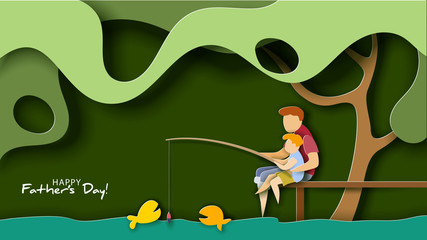 Father and son fishing. Happy father s day card