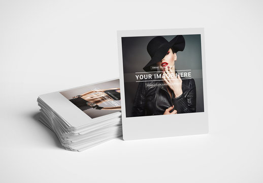 Stack of Instant Photos Isolated on White Mockup