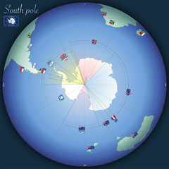 North pole global map with country flags, vector illustration