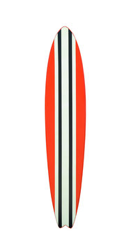 Color modern surfboard isolated on white background