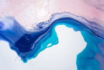 Liquid paper blue and pink paint background. Fluid painting abstract texture, art technique. Colorful mix of acrylic vibrant colors. Creativity and painting. Background for design, printing, pattern Wall mural