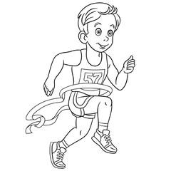 coloring page with runner run marathon winner