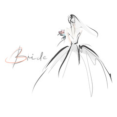 Young beautiful bride in dress. Hand-drawn fashion illustration. Sketch, vector