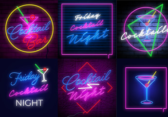 Neon Cocktail Lounge Sign Layouts