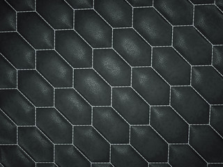 Leather stitched hexagon or honecomb black shiny texture