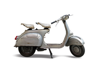 Fotorolgordijn Scooter Vintage Italian scooter side view isolated on white