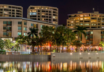 The beautiful Waterfront of Darwin, Australia, seen with the reflection in the water in the evening light