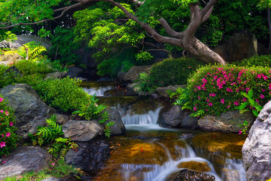 Beautiful japanese garden with small waterfall