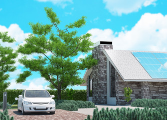 Ecological house with solar panels, 3d rendering