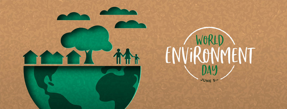 Environment Day banner of green cutout eco city