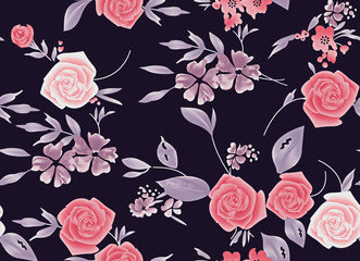 seamless watercolor vintage rose flower background