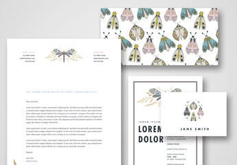 Stationery Set with Butterfly Illustrations