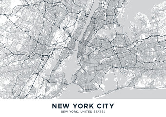 Fototapeta New York City (NYC, NY) map. Light poster with map of New York City (New York, United States). Highly detailed map of The