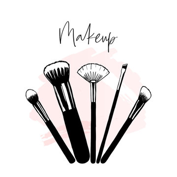 Makeup banner with brushes, template for makeup artist, hand drawn vector illustration, beauty