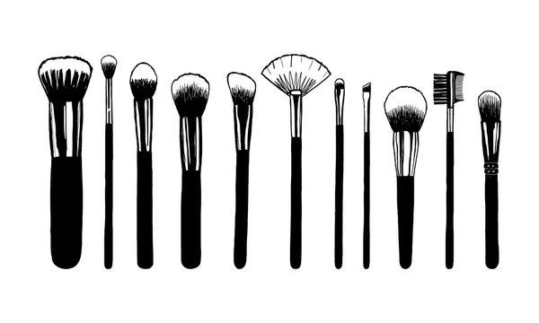 Set of makeup brushes. Hand drawn vector illustration