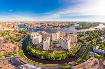 SAINT-PETERSBURG, RUSSIA - June 3, 2019: Beautiful aerial top view at new elite residential complex