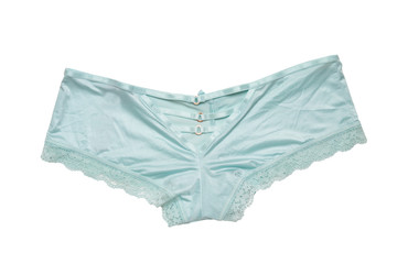 12ed3beada04 Underwear woman isolated. Close-up of luxurious elegant turquoise or light  blue lacy panties