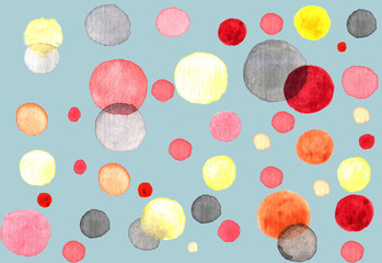 Abstract watercolor background with circles : multicolored circles drawn on a blue backdrop. Hand-drawn illustration. Suitable for banner, poster, print and other background elements.
