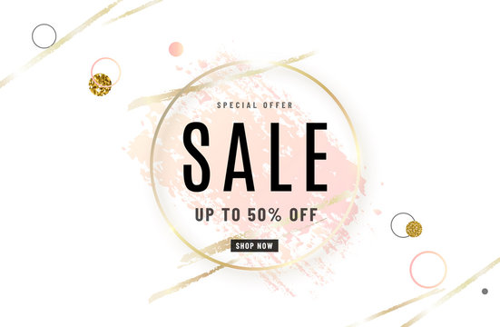 Fashion sale banner design background with gold circle frame, watercolor rose pink brush, special offer text, geometric elements. Up to 50 percent OFF. Vector illustration